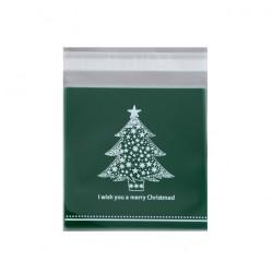 Пакет для пряника с клейкой лентой Елочка (зеленый) 10*10см 20шт