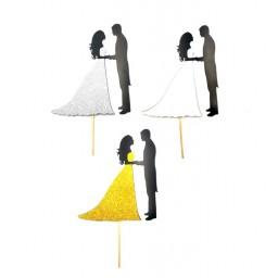 Жених и невеста у алтаря топпер для торта (589) пластик цвет в ассортименте