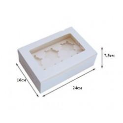 Коробка для капкейков на 6 ячеек белый 1шт