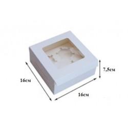 Коробка для капкейков на 4 ячейки белый, 1 шт