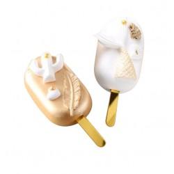 Палочка для мороженого 12 см пластик золото 5шт