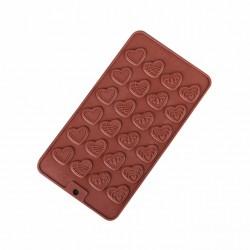 Форма для шоколада «Сердечки» 24 ячейки цвет шоколадный 114002