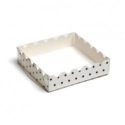 Коробка для пряников 12*12*3 см Горох белая 4987514