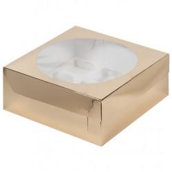 Коробка для капкейков на 9 ячеек ЗОЛОТО 235*235*100мм 040430