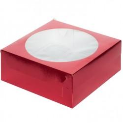 Коробка для капкейков на 9 ячеек 235*235*100мм КРАСНЫЙ С ОКНОМ 040470
