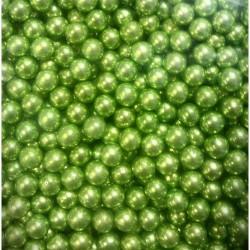 Шарики зеленые металл посыпка кондитерская 5мм Италия,30гр