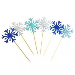 'Снежинка мерцающая серебро' набор топперов,10 шт, бумага