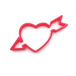 'Сердце со стрелой' вырубка для печенья пластик (красный)