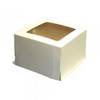 Коробка 300*300*190 мм ИЗ ГОФРОКАРТОНА БЕЛЫЙ с окном