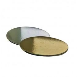 Поднос для торта круг золото/серебро картон 20см 5мм