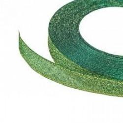 Лента для коробок органза зеленая/синяя 1см*25 Y 10/ЗЛПч