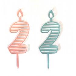 Топпер свеча для торта цифра В полоску 2 цвет в ассортименте