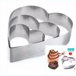 Набор рамок в форме сердца для мусса, металл, 3 шт 1371940