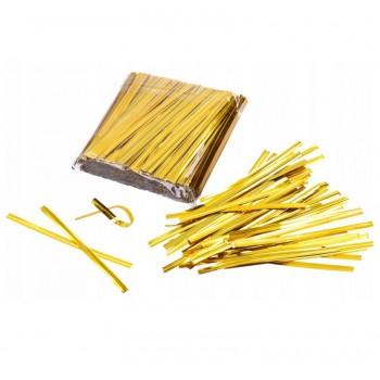 ЛЕНТА для перевязки пакетиков 8 см 500 шт отрезок 8 см (золото)