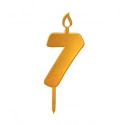 Топпер свеча для торта цифра 7 золото