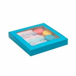 Коробка для пряников 21*21*3 см самосборная голубой 4588958