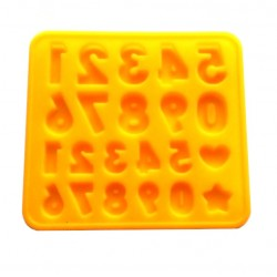 'Цифры большие и маленькие' форма силиконовая для шоколада(желтые)