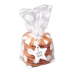Пакет для печенья  Белый горошек 13*21*4 см 1шт