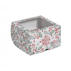 Коробка для капкейков на 4 ячеек С НОВЫМ ГОДОМ 16*16*10см 5117701
