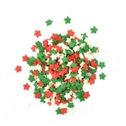 'Звезды красно-зелено-белые мини' сахарная посыпка, 50 гр