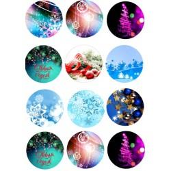 Новый год на капкейки2 вафельная картинка,A4