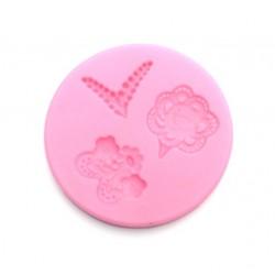 'Кружева и цветы' коврик для айсинга(розовый круг)