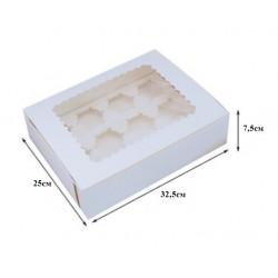 Коробка для 12 капкейков белый КОМПЛЕКТ 20 шт