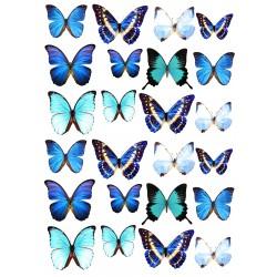 'Бабочки голубые' вафельная картинка,A4