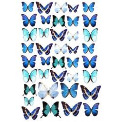 'Бабочки голубые мини' картинка на сахарной бумаге,A4